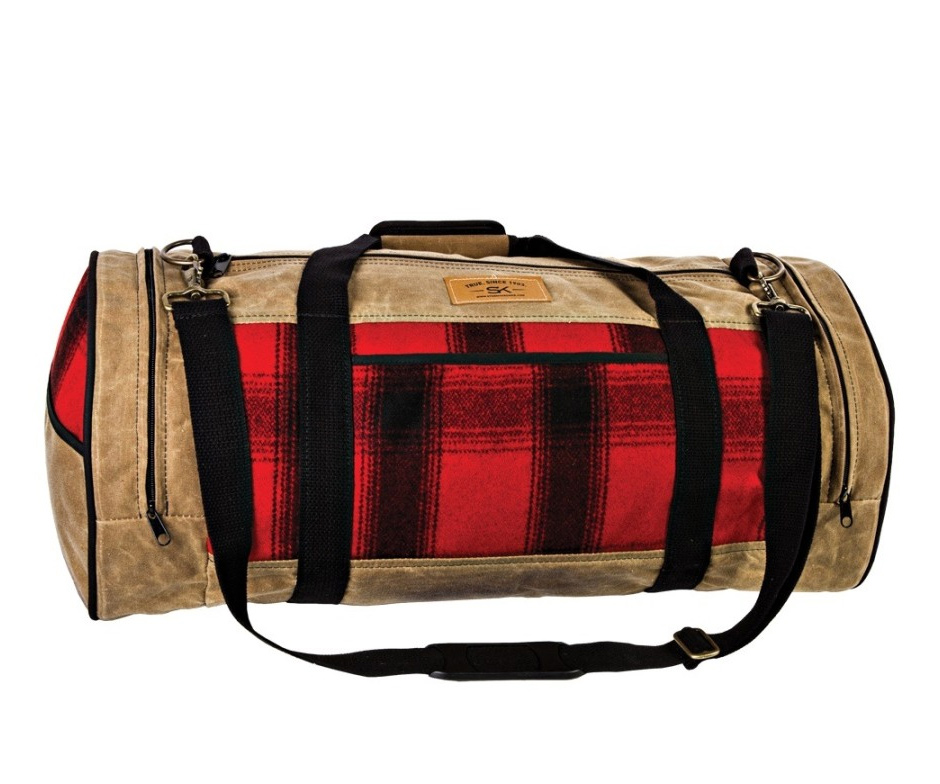 Stormy Kromer Night Timer bag in red and black plaid